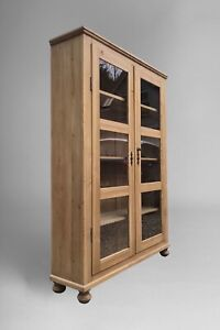 Large Vintage Pine Glazed Display China Cabinet Bookcase Armoire Linen Cupboard