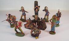 Elastolin / Leyla Masse Figuren Wildwest Konvolut mit 8 Figuren Marterpfahl #133