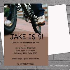 Personalised BMX Bike Boys Childrens Birthday Party Invitations x 12 +envs H0989