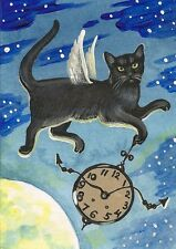 5x7 PRINT OF PAINTING RYTA BLACK CAT HALLOWEEN CLOCK XMAS GOTHIC VINTAGE STYLE