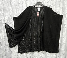 BLACK KIMONO KAFTAN PONCHO CAPE CARDIGAN JACKET SWEATER WRAP TOP~18/20~1X~2X~NEW