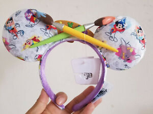 New Disney Parks Ink & Paint Minnie Mickey Mouse Paintbrush Ears Headband