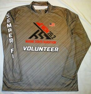 NEW Men's XL 2019 US Marine Corps Marathon VOLUNTEER Long Sleeve LS Shirt USMC