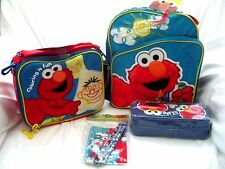 "Sesame Street Elmo 12"" Backpack,Elmo Lunch Bag,Pencil case,Stationary Set Combo"