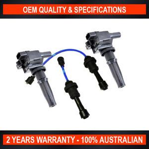 2x Swan Ignition Coil w/ TopGun Spark Plug Lead Kit for Hyundai Santa Fe Sonata
