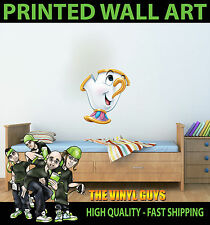 PRINTED WALL ART CHIP BEAUTY AND THE BEAST GRAPHIC STICKER KIDS BED ROOM