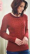 KNITTING PATTERN Ladies Cable & Lace Jumper Textured Moss Stitch Sweater PATTERN