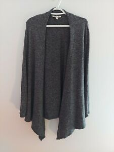 Express Womens Size Large Cardigan Sweater Open Draped Knit Gray L