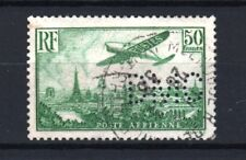 "FRANCE POSTE AERIENNE 14a "" AVION PARIS 50F VERT PERFORE DMC "" OBLITERE TB  R551"