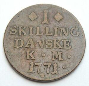DENMARK 1 SKILLING 1771 OLD COPPER COIN