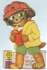 Vintage Valentine Card with Dog in Cap and Movable Eyes Findings is Keepings