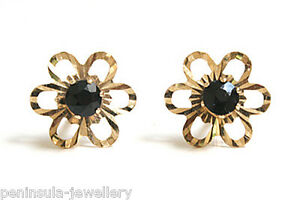 9ct Gold Sapphire Studs round daisy Earrings Made in UK Gift Boxed