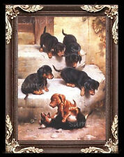 Dachshund Dog Puppies Miniature Dollhouse Picture