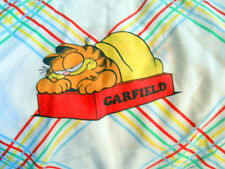 Garfield Twin Fitted Bed Sheet 1978 Vintage Cat Cartoon Blue Red Green Stripes