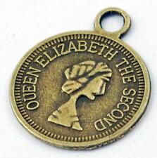 30pc 14mm antique bronze finish metal coin pendants-7334