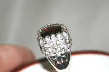 Natural earth-mined red garnet and white topaz ring in sterling silver