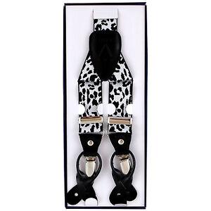 New Y back Men/'s Vesuvio Napoli Suspenders Braces clip on Black White Leopard