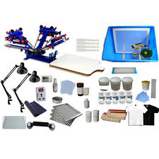 Adjustable 4 Color Screen Printing Press Materials Kit Materials & Exposure Unit