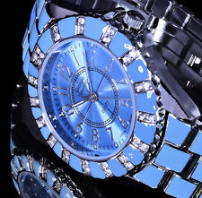 Georgie Valentian Damen Uhr Armbanduhr hell blau Silber Farben Metall Strass 2