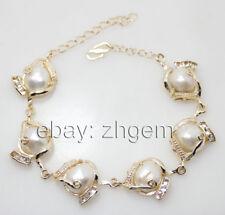 Huge Baroque White Pearl Stone Handmade Beaded Golden Chain Bracelet 7-9 Inches