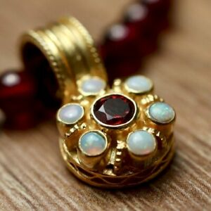 Garnet and Opal Cluster Necklace : Museum of Jewelry