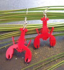 Red Lobster Laser Cut Dangle Earrings, Sea Life, Crustacean, Ocean