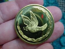 (#MD-61) Peace sign Dove doves bird olive new minted BRASS COIN token Sign coins