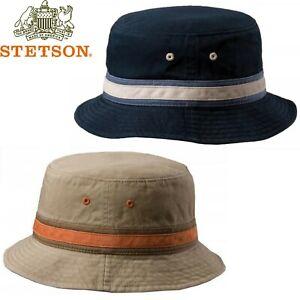 STETSON Everett 100% Cotton Bucket Hat Summer Brim Foldable Travel Cap Packable