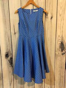 Grace Karin Women's Rockabilly Polka Dot Sleeveless Swing Dress Blue Size M