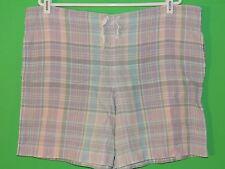 Lauren by Ralph Lauren Women's Size M Medium 100% Linen Plaid Casual Shorts