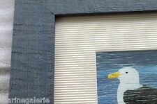 Décoration murale tableau nautique mer marine cadre bois goeland naïf enfant