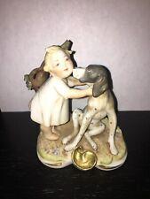 Antique Naughty Baby/Child & Dog-Gebruder,Heubach,Othe r German Bisque Figurine