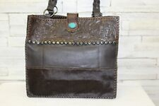 Paige Wallace Brown Tri-color Large Tote w/Turquoise Stone and Studs