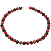 Kette Collier aus Koralle & Lava & 925 Silber, schwarz rot, Halskette, Damen