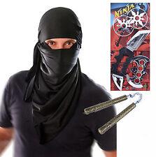 Mens Adult Ninja Terrorist Hood Halloween Fancy Dress Costume with Toys