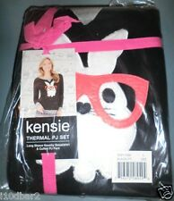 KENSIE WOMENS THERMAL PJ SET LONG SLEEVE & Long Pant BLACK TOP size X LARGE NWT'