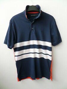 Men's French Connection Navy/White/Orange Cotton Polo Shirt T Shirt Size Small