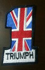 Union Jack Flag TRIUMPH Embriodered Badge Sew Or  Iron On Patch N-248