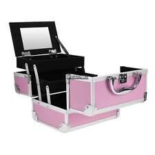 "Aluminum 8"" PVC Makeup Train Case Cosmetic Organizer Bag Jewelry Lock Box Pink"