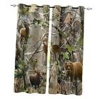 """Camo Blackout Curtains Thermal Insulated Bird Bear 52""""Wx52""""L Realtree Forest"""