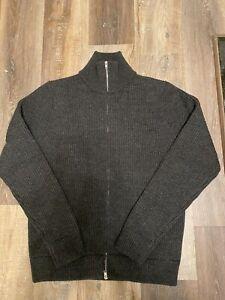 Maison Martin Margiela Heavyweight Zip-Up Ribbed High Neck Wool Sweater