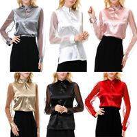 Women Silk Satin Shirts Long Sleeve Button Blouse Mesh Sheer Sleeve Solid Tops