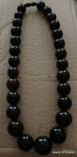 Natural Black  / dark   cherry/  round Baltic Amber Beads Necklace  110  grams