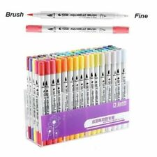 100 Colour Dual Tip Brush Pens with Fine liners-Colouring Art Markers Drawing.