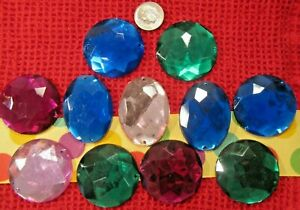 """LOT OF 11~SEW ON FLAT BACK BEADS~HUGE 1.5""""~ASSORTED~JUNK DRAWER~OVAL& ROUND NOS"""