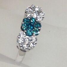 Vintage Three Flower Design Multi Color Diamond Pave Ring 14K Wg Original Design