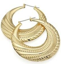 Big Patterned Creole Style Hoops ~ Extra Large Round Gold Hoop Earrings