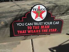 TEXACO MAN DISPLAY Trust your car Red Star  VINTAGE Look Station oil gas cave