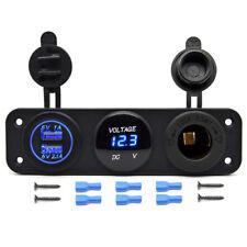 12V 2USB Charger Socket & Blue LED Voltmeter 3 Hole Switch Panel Outlet Car Boat
