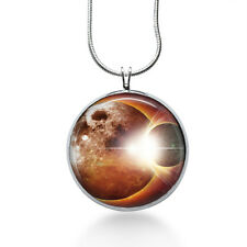 Space Orange Necklace, Vintage Cabochont Pendant,Fashion Jewelry,Gifts